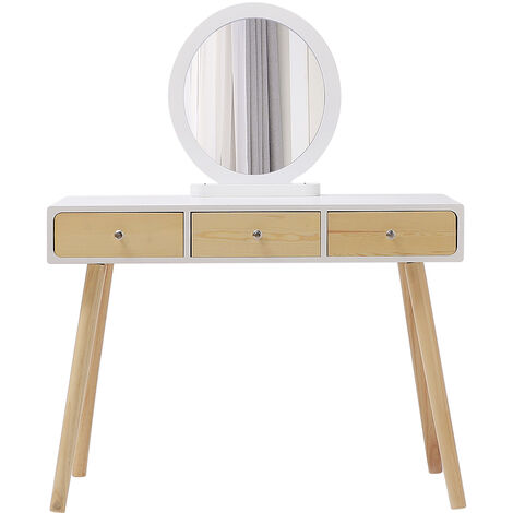Tocador Mesa de Maquillaje Belleza 3 Cajones +Espejo + Taburete Acolchado ,100*40*125CM (Color de madera)