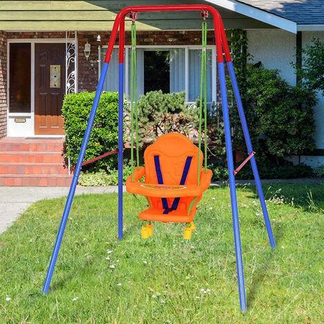 3 en1 Columpio para niños columpio de jardín columpio marco columpio 107x96x131cm plástico