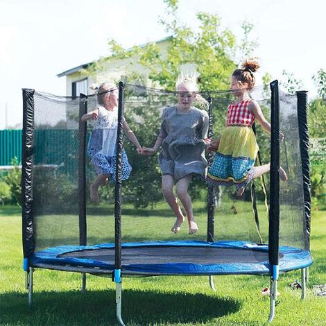 Trampolín Cama elástica de jardín con red de seguridad juego deporte exterior jardín Ø152cm Azul