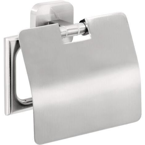 tesa Esteetic Dérouleur papier toilette avec couvercle, sans perçage, adhésif, inoxydable, 13,5cm x 13,2cm x 4,8cm