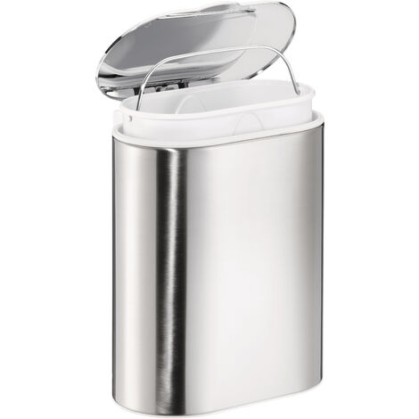 tesa Esteetic Poubelle salle de bain, sans perçage, adhésif, inoxydable, 16cm x 27cm x 22cm