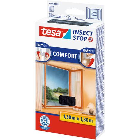 tesa® Insect Auto-agrippant COMFORT pour fenêtres, Moustiquaire - Système Easy-on/Easy-off, amovible, réutilisable et lavable, noir, 130 cm x 130 cm
