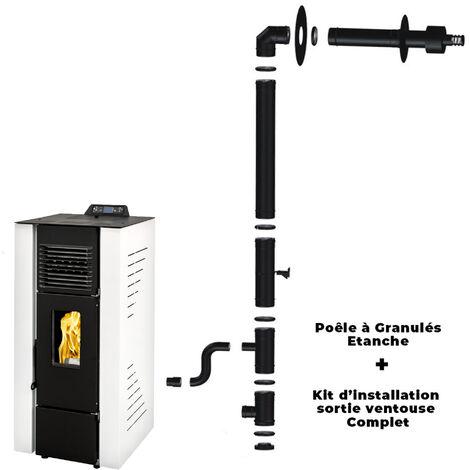 Poêle à granulés air Anita 9 kW Sannover Blanc + Kit Raccordement Fumisterie