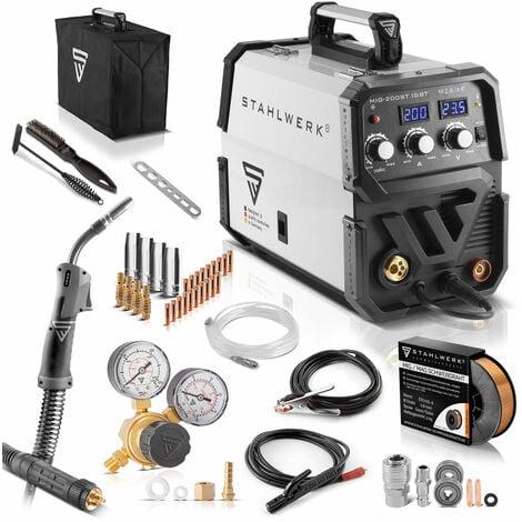 STAHLWERK MIG 200 ST IGBT- équipement complet - Machine à souder MIG MAG sous gaz protecteur avec 200 A, fil fourré FLUX adapté, avec MMA E-hand, blanc, 7 ans de garantie