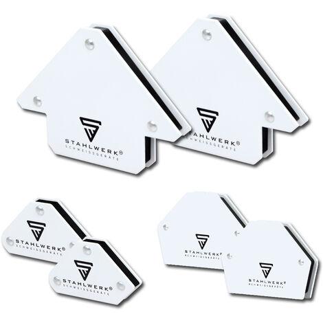 6 × STAHLWERK Angle de soudage magnétique Aimant de soudage à angle magnétique, 30° x 45° x 60° x 75° x 90° x 135°, force de maintien entre 9 et 25 lbs / 4 et 11,3 kg, blanc