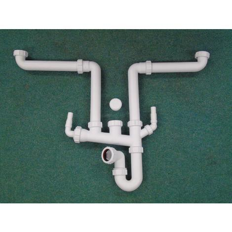 Multi bowl kitchen sink plumbing kit with appliance connector (340750)