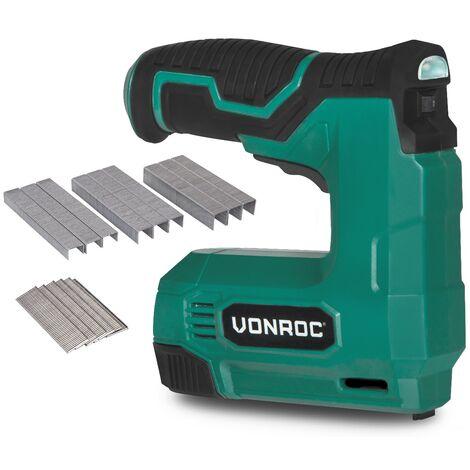 VONROC Graffatrice chiodatrice a batteria 4V. Include 900 graffe e 300 chiodi