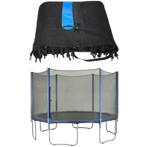 Trampoline Replacement Enclosure Surround Safety Net | Protective Outside Netting for Round Frames using Straight Poles
