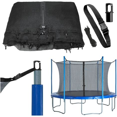 Trampoline Replacement Enclosure Surround Safety Net | Universal Protective Netting Compatible with Multiple Poles | Pole Caps Included