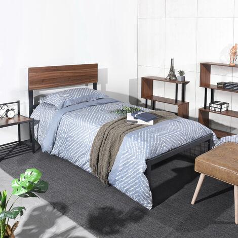 AO00 Lit simple robuste - Tête de lit en bois - lattes en bois - 195 * 108 cm