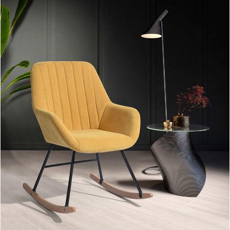 4193 Fauteuil à bascule chaise berçante moderne en tissu jaune - Pieds en bois massif - L 60 x P 80 x H 82 cm