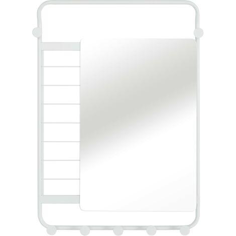 5460 Étagère de salle de bain suspendue miroir,blanc