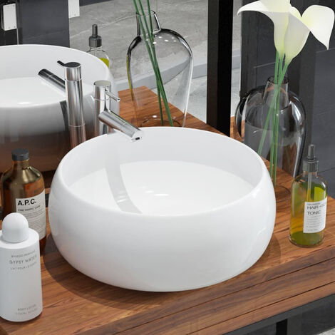 VidaXL Lavabo redondo de ceramica 40x15 cm blanco