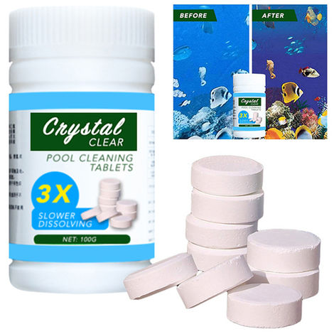 Flotador de la piscina de limpieza con 100pcs purificador de tabletas de cloro piscina dispensador Kit, Azul