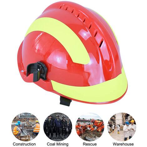 Proteccion contra Incendios F2 Rescate de Emergencia Casco de seguridad contra incendios de combate Cascos Casco de lugar de trabajo con el faro y gafas, blanco