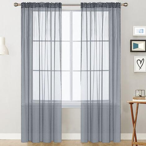 Cortinas transparentes Sala del bolsillo de Rod cortina de la ventana Paneles dormitorios semi pura gasa cortinas grises (39''Wx51''L, 2 paneles)
