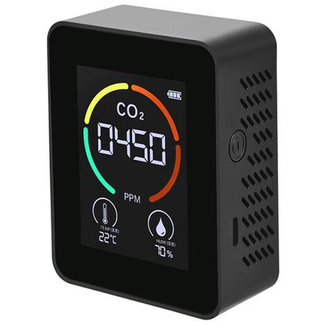 Monitor de calidad del aire Detector de aire de CO2 Detector de dioxido de carbono Sensor de temperatura y humedad Lectura en tiempo real, Blanco