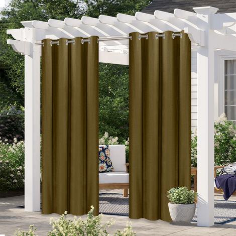 """Pergola exterior cortinas, Blackout Patio al aire libre cortinas, a prueba de agua en el exterior de la decoracion con prueba de herrumbre Ojal para Pergola / Porche (2 Panel, 52''W * 107''L), Beige, 52 """"Wx107"""" L"""