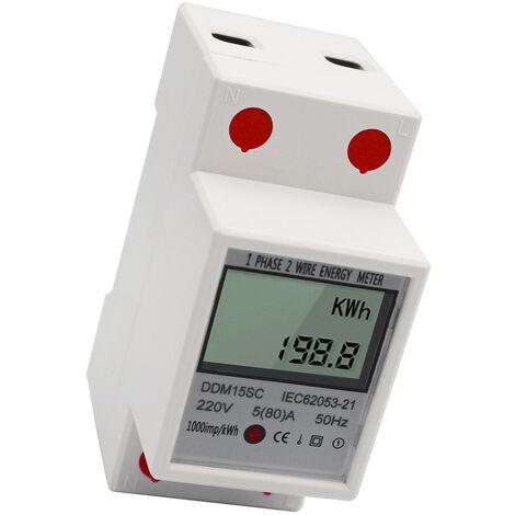 Contatore di energia con display LCD, 220 V / 50 Hz / 5-80 A.