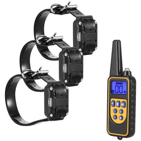 Dispositivo di addestramento del cane con telecomando impermeabile, un controller con tre collari, 880