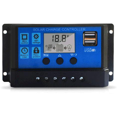 100A regolatore di carica solare, solare Unita di controllo 12V / 24V Display LCD regolabile pannello di batteria solare Regolatore con doppia porta USB