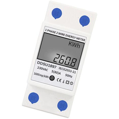 Contatore di energia digitale monofase su guida DIN elettrico Contatori di elettricita Un contatore elettrico multifunzione a filo di seconda fase