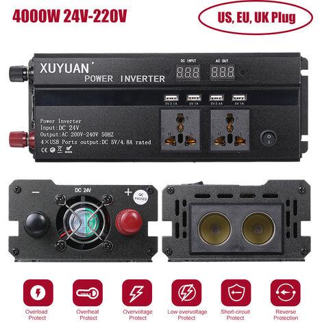 Car Inverter 3000W 4000W 5000W 12V/24V 110/220V DC to AC Power Inverter Dual Led Display Modified Sine Wave Power Voltage Transformer Converter,4000W 24V-220V 50Hz