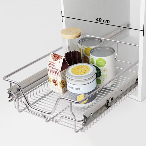 Pull-Out Wire Baskets 2 pcs Silver 400 mm
