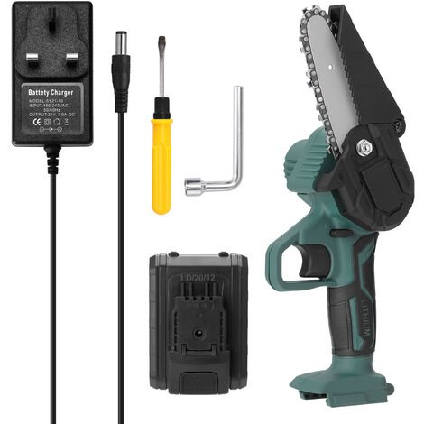 Mini rechargeable electric chainsaw, household small hand-held wood cutting, two batteries and a charger, 220V, 4-inch, 21V