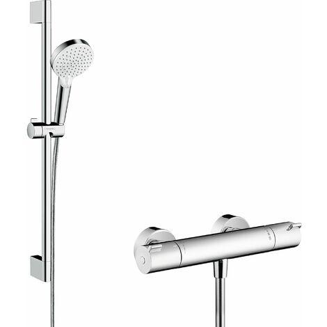 HANSGROHE Combi douche Vario avec barre 65 cm / Ecostat 1001 CL blanc/chromé Crometta