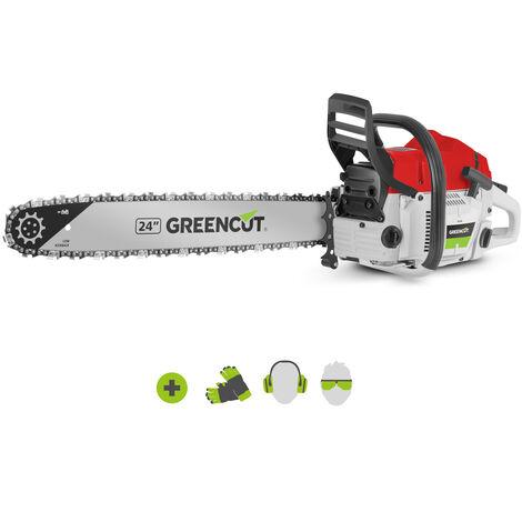 """Motosierra de gasolina GS750X, con motor térmico 2 tiempos 75cc 4.8cv, espada 24"""", longitud corte 61cm, ideal para tala y poda, peso 8,75kg - Greencut"""