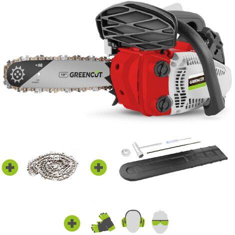 """Motosierra de gasolina GS245X-10, motor térmico 2 tiempos 24.5cc, potencia 1.4cv, espada 10"""", corte 25.4cm, para poda, manillar ergonómico y arnés - Greencut"""
