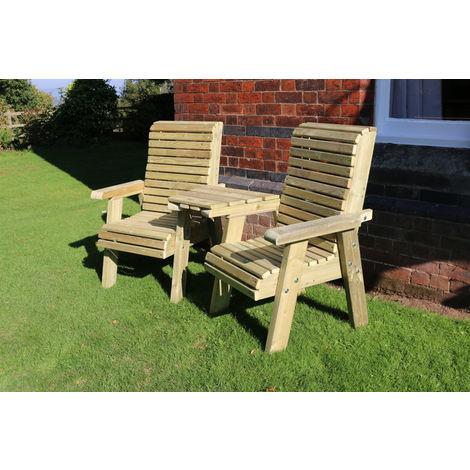 Ergonomic Companion Set, wooden garden love seat - Angled
