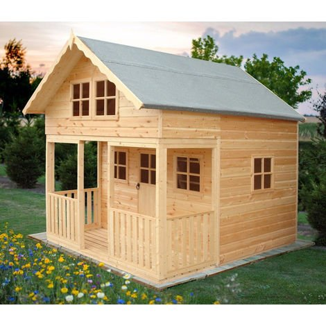 Lodge 8' x 9' Single Door with Two Fixed and Three Opening Windows Playhouse