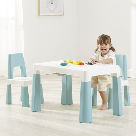 Kids White/Forest Green Height Adjustable Table and Chair Set