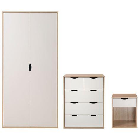 3 Piece Bedroom Furniture Set Wardrobe 3+2 Chest Drawers Bedside Oak & White