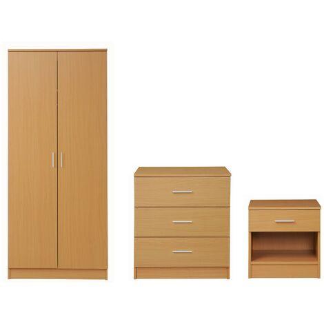 3 Piece Bedroom Furniture Set Wardrobe Chest Drawers Bedside Table Oak Effect