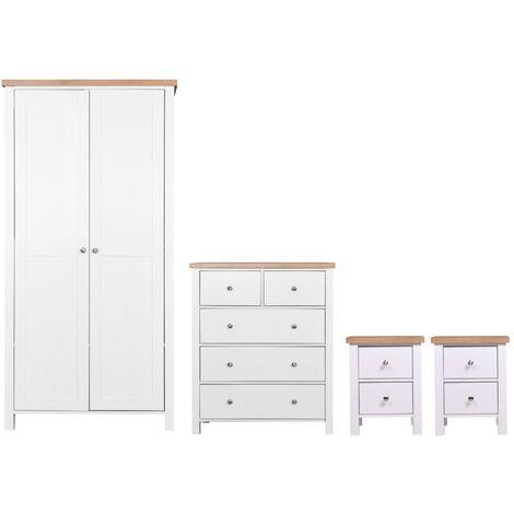 Astbury 4 Piece Bedroom Set 2 Door Wardrobe 2x Bedside 3+2 Drawer Chest
