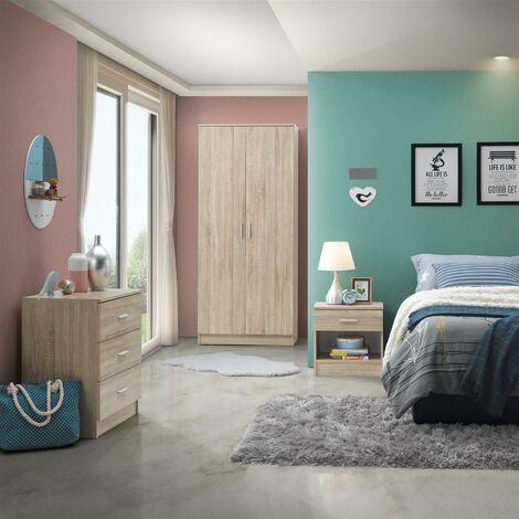 4 Piece Bedroom Furniture Set Wardrobe Chest Drawers 2 Bedside Table Sonoma Oak