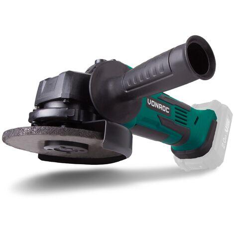 Amoladora angular inalámbrica VONROC de 115mm, VPower 20V – juego completo con 2.0Ah batería, cargador rápido, mango lateral y estuche de almacenamiento
