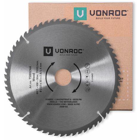 Hoja de sierra VONROC - 210 x 30mm - 60 dientes - para madera - Apta para sierras de mesa y ingletadoras