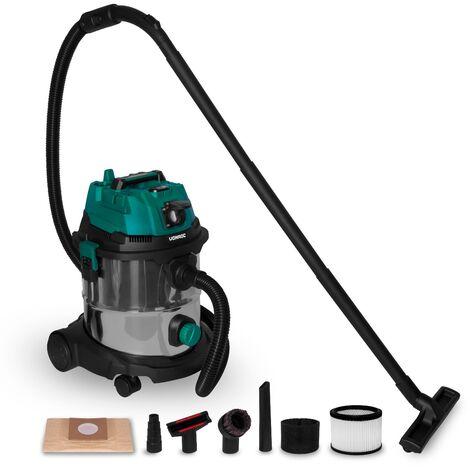 VONROC Aspirador en seco y húmedo - 1400W - Encendido automático - Función de soplado - Depósito de acero inoxidable de 20L - Manguera de 3m - Cable de alimentación de 6m