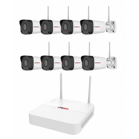 Kit Video Surveillance Wifi 8 Cameras, Disque Dur 2 To