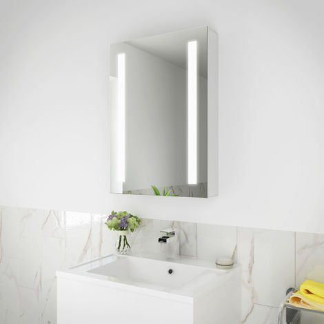 ELEGANT Illuminated LED Bathroom Sliding Mirror Cabinet Stainless Steel Wall Storage, Mirror with Lights and Sensor Switch,