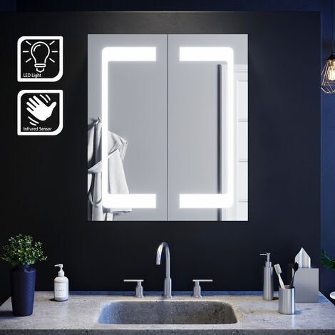 LED Mirror Cabinet with Lights Sensor Switch Stainless Steel Frame Modern Bathroom Wall Storage Mirror 600 x 700mm