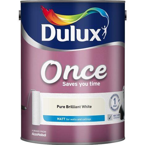Dulux Retail Once Matt Paint - Pure Brilliant White - All Sizes