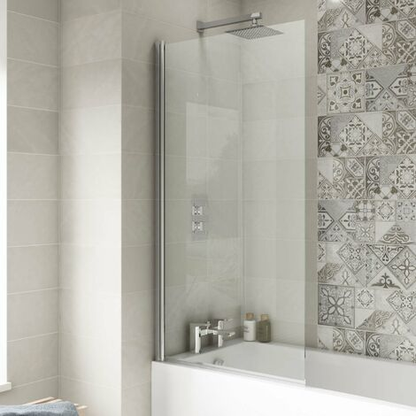 Nuie Pacific Square Hinged Bath Screen 1430mm H x 785mm W - 6mm Glass