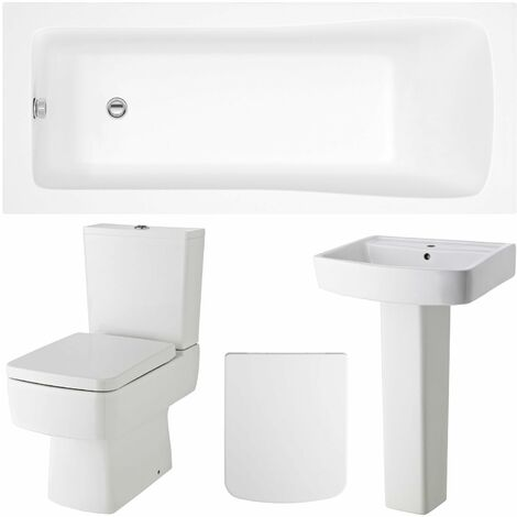 Nuie Bliss Complete Bathroom Suite with Rectangular Bath 1700mm x 700mm