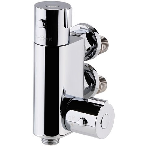 Nuie Vertical Thermostatic Bar Shower Valve, Bottom Outlet, Chrome