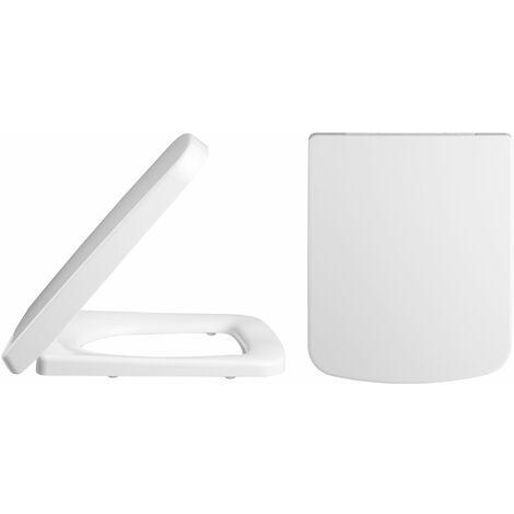 Nuie Square D-Shape Soft Close Toilet Seat - White
